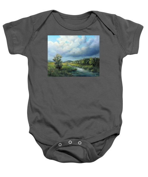 River Landscape Spring After The Rain Baby Onesie