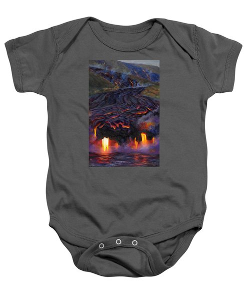 River Of Fire - Kilauea Volcano Eruption Lava Flow Hawaii Contemporary Landscape Decor Baby Onesie