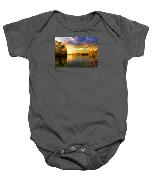 River Sunset Baby Onesie