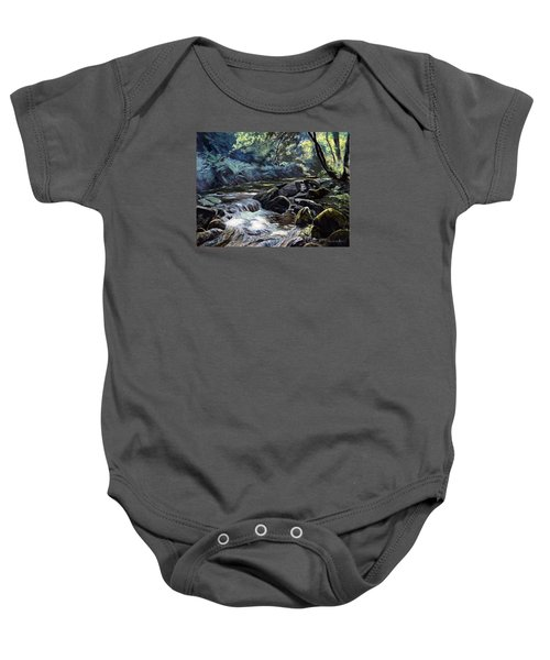 Baby Onesie featuring the painting River Taw Sticklepath by Lawrence Dyer
