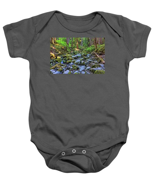 Riverbed Full Of Mossy Stones With Small Cascade Baby Onesie
