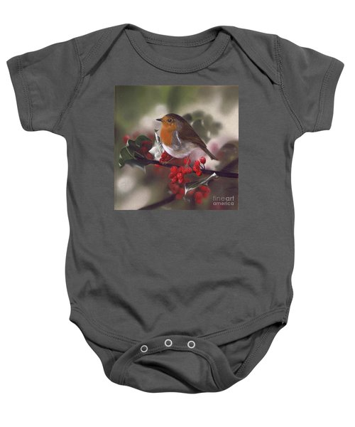 Robin And Berries Baby Onesie