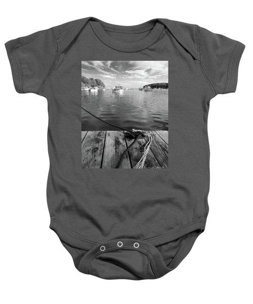Rockport Harbor, Maine #80458-bw Baby Onesie