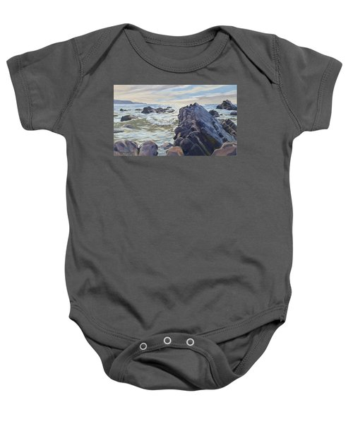 Baby Onesie featuring the painting Rocks At Widemouth Bay, Cornwall by Lawrence Dyer