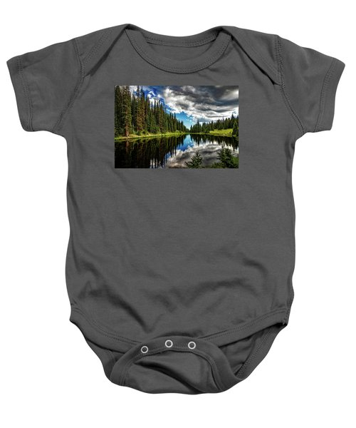 Rocky Mountain Lake Irene Baby Onesie