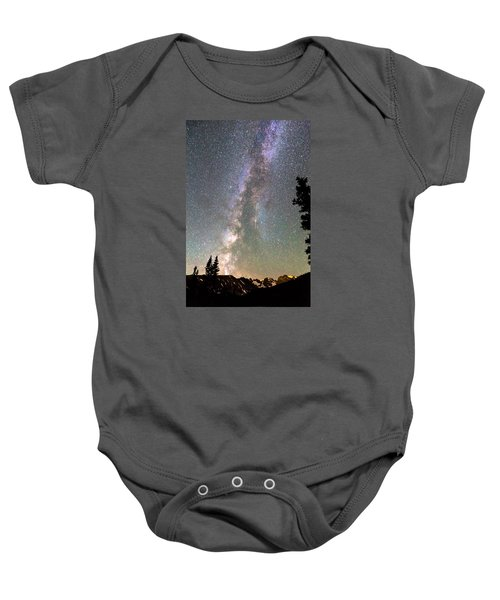 Rocky Mountain Milky Way And Falling Star Baby Onesie