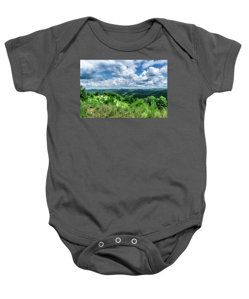 Rolling Hills And Puffy Clouds Baby Onesie