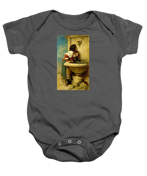 Roman Girl At A Fountain Baby Onesie