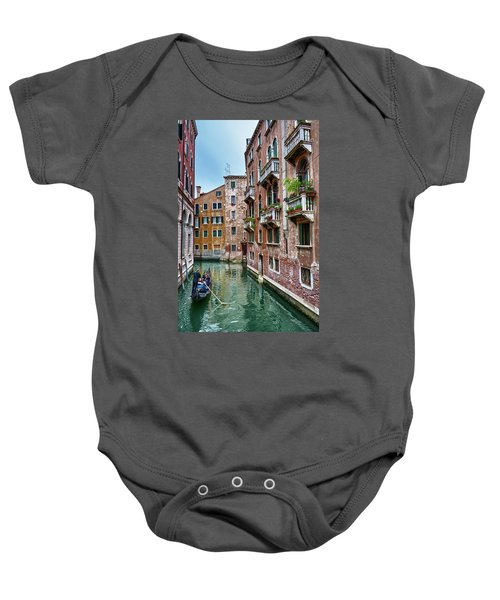 Gondola Ride Surrounded By Vintage Buildings In Venice, Italy Baby Onesie