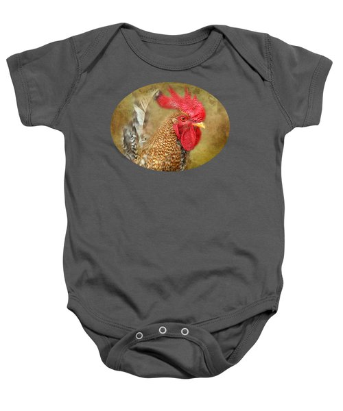 Rooster Profile Baby Onesie by Anita Faye