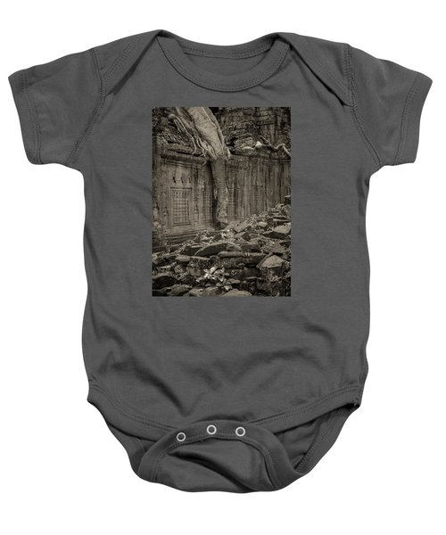 Baby Onesie featuring the photograph Roots In Ruins 6, Ta Prohm, 2014 by Hitendra SINKAR