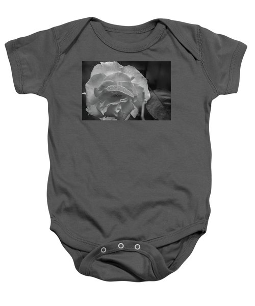 Rose In Black And White Baby Onesie