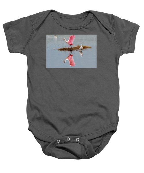 Roseate Spoonbill Stretching Wings Baby Onesie