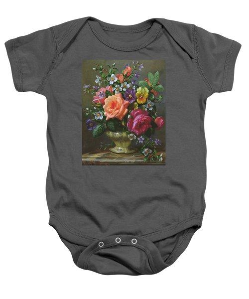 Roses And Pansies Baby Onesie