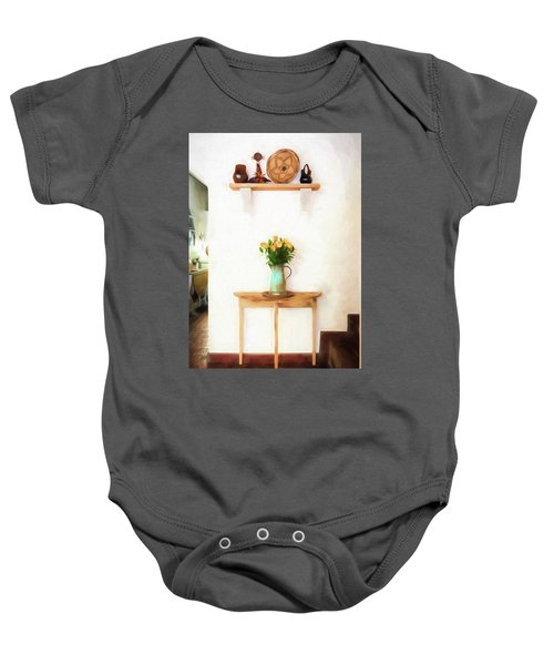 Rose's On Table Baby Onesie