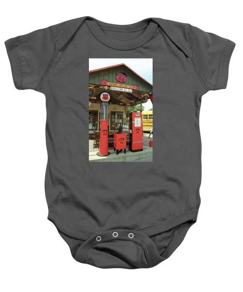 Baby Onesie featuring the photograph Route 66 - Shea's Gas Station by Frank Romeo