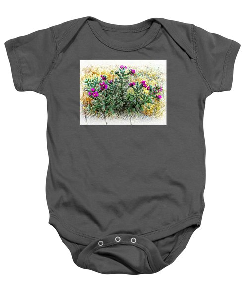Royal Gorge Cactus With Flowers Baby Onesie