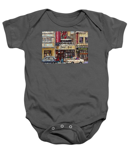Rue Peel Montreal Winter Street Scene Paintings Peel Pub Cafe Republique Hockey Scenes Canadian Art Baby Onesie
