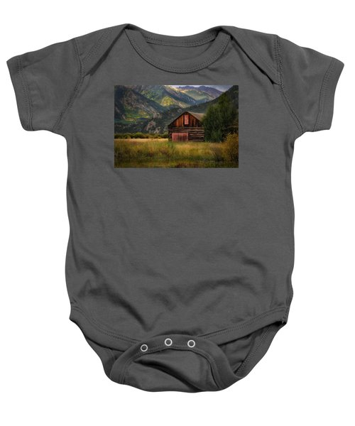 Rustic Colorado Barn Baby Onesie