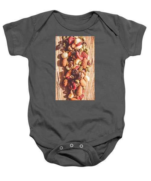 Rustic Dried Fruit And Nut Mix Baby Onesie