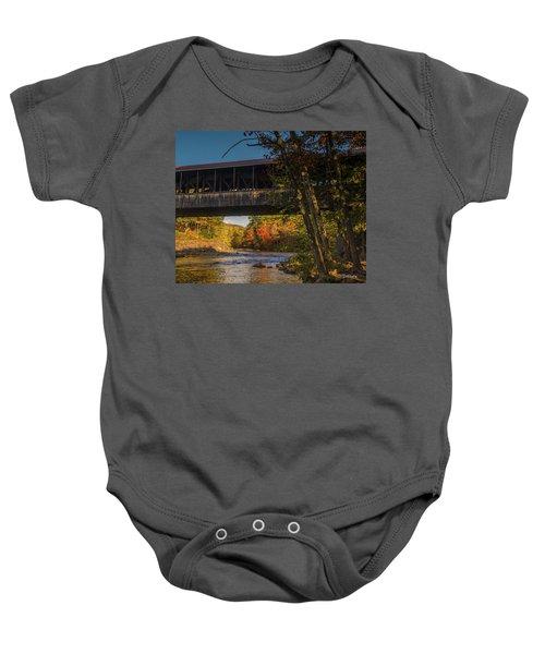 Saco River Covered Bridge Baby Onesie