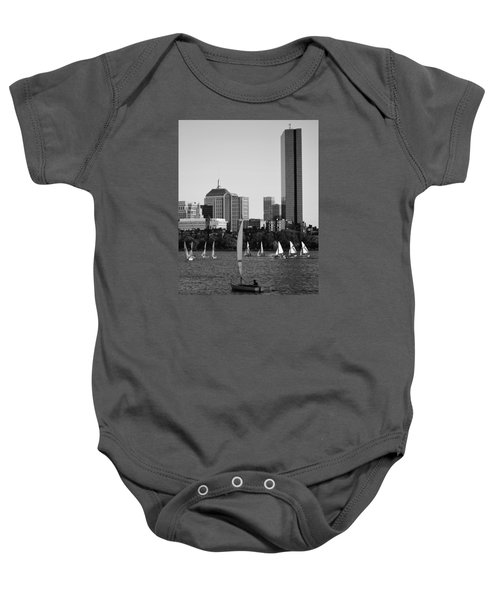 Sailing The Charles River Boston Ma Black And White Baby Onesie