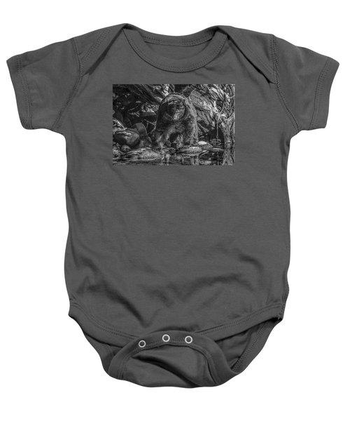 Salmon Seeker Black Bear  Baby Onesie