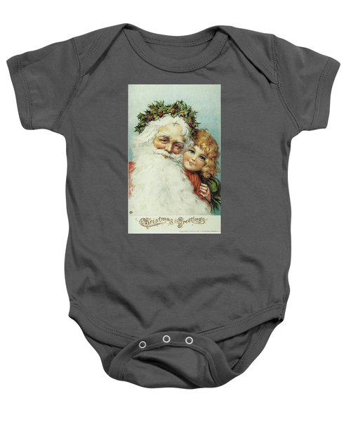 Santa And His Little Admirer Baby Onesie