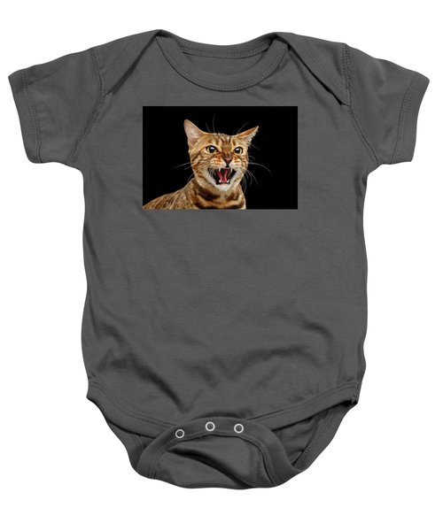 Scary Hissing Bengal Cat On Black Background Baby Onesie