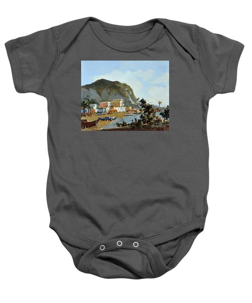 Sea And Mountain With Boats Baby Onesie