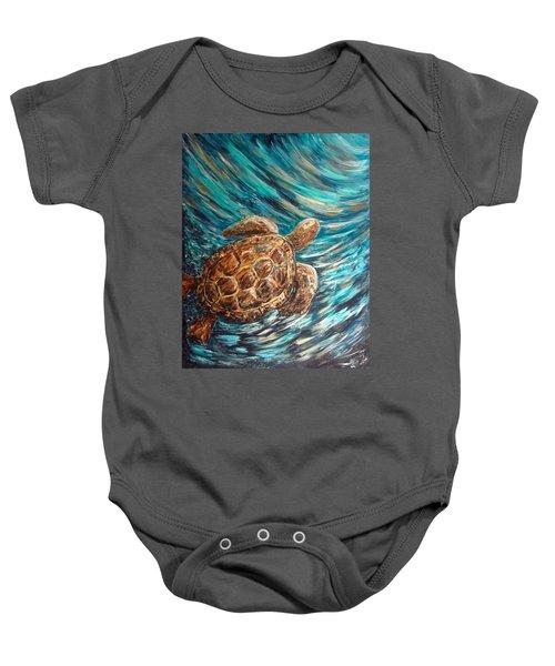 Sea Turtle Wave Guam Baby Onesie