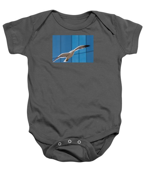 Seabird Flying On The Glass Building Background Baby Onesie