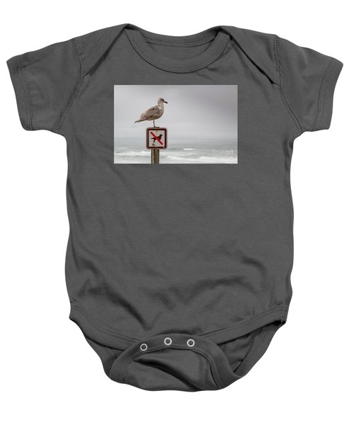 Seagull Standing On Sign And Looking At The Ocean Baby Onesie