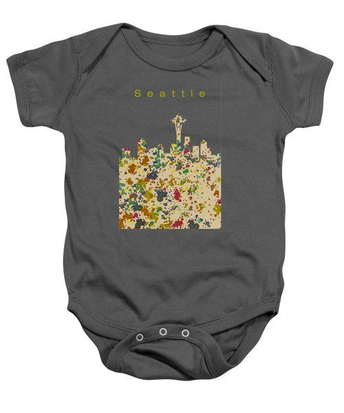 Seattle Skyline 1 Baby Onesie by Alberto RuiZ