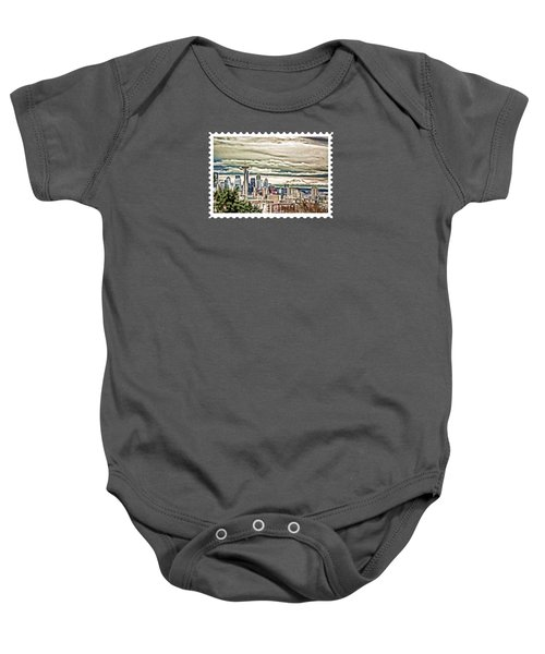 Seattle Skyline In Fog And Rain Baby Onesie by Elaine Plesser