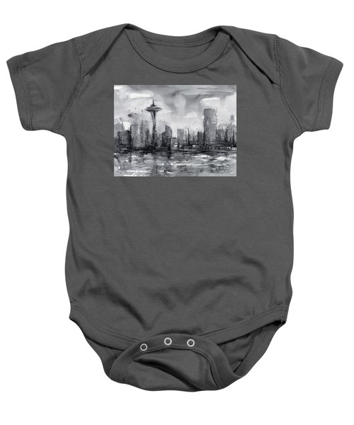 Seattle Skyline Painting Watercolor  Baby Onesie by Olga Shvartsur