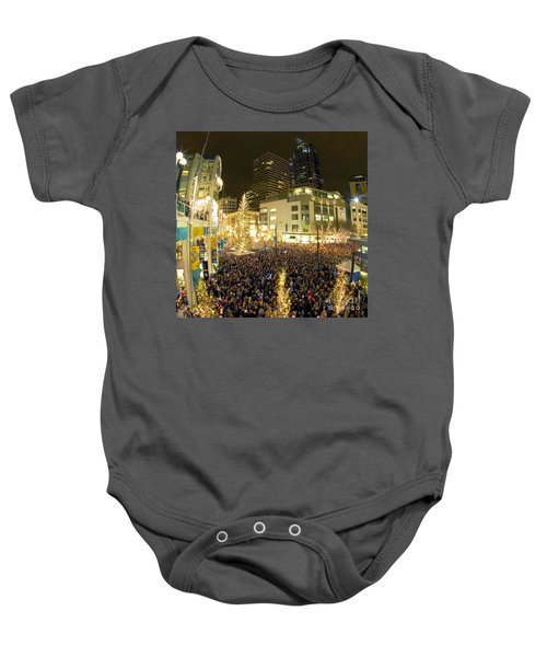 Baby Onesie featuring the photograph Seattle Westlake Tree Lighting by Peter Simmons