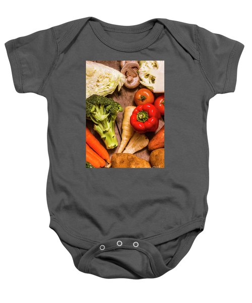 Selection Of Fresh Vegetables On A Rustic Table Baby Onesie