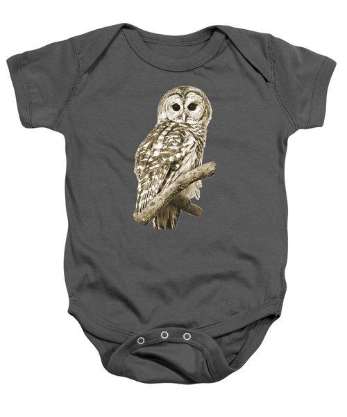 Sepia Owl Baby Onesie by Christina Rollo