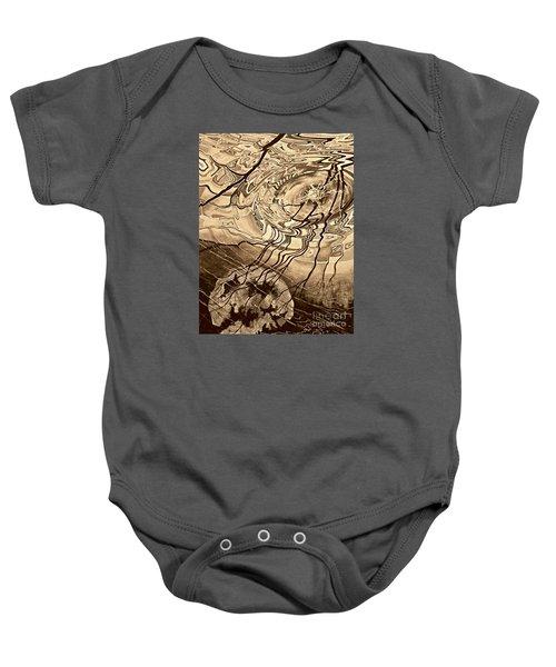 Sepia Ripples Baby Onesie
