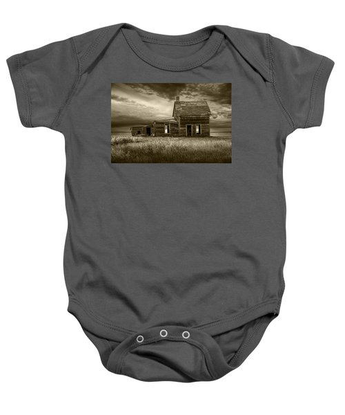 Sepia Tone Of Abandoned Prairie Farm House Baby Onesie