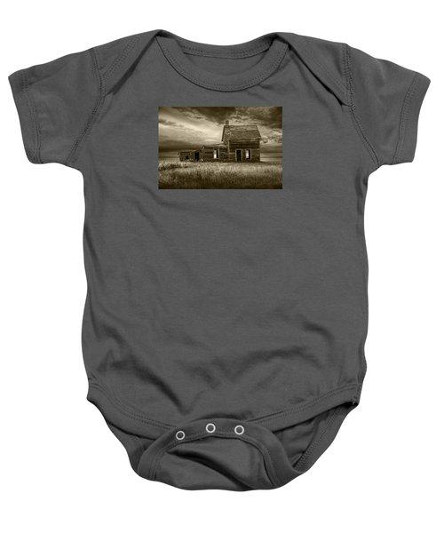Sepia Tone Of Abandoned Prairie Farm House Baby Onesie