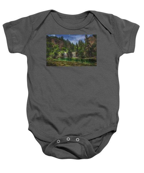 Serene Hanging Lake Waterfalls Baby Onesie