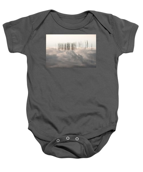 Serenity Dwells Here Where Tranquil Water Flow Cloaked  In Hues Of Love Baby Onesie