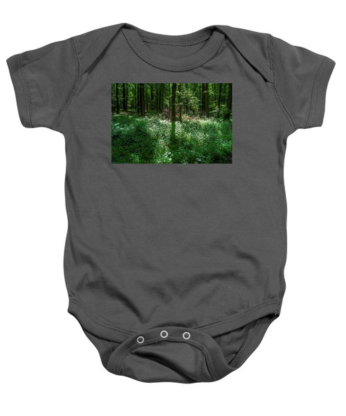 Shadow And Light In A Forest Baby Onesie