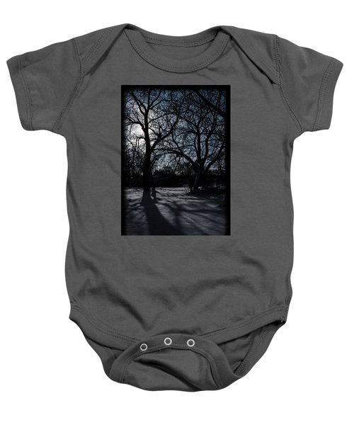 Shadows In January Snow Baby Onesie