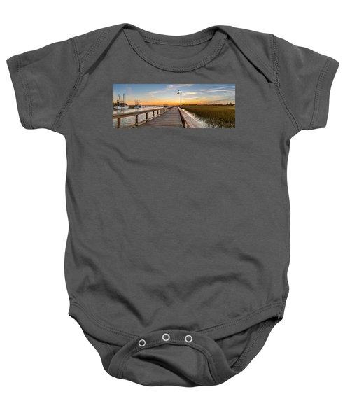 Shem Creek Pier Panoramic Baby Onesie