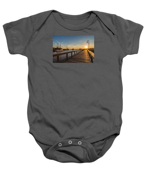 Shem Creek Pier Sunset - Mt. Pleasant Sc Baby Onesie