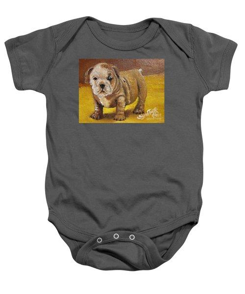 Chloe The   Flying Lamb Productions      Shortstop The English Bulldog Pup Baby Onesie
