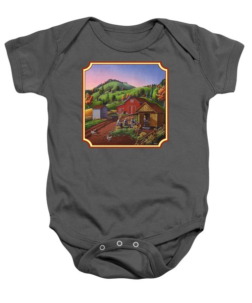 Shucking And Storing Corn In The Corn Crib Farm Landscape - Square Format Baby Onesie